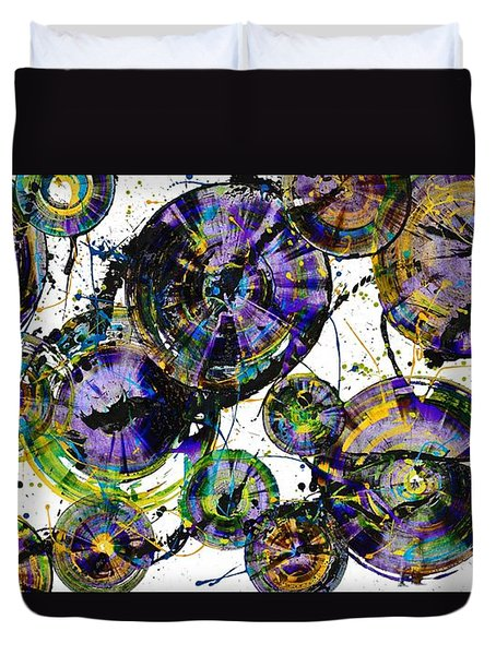 Duvet Cover featuring the painting Spherical Purple Haze - 1510.021413 by Kris Haas