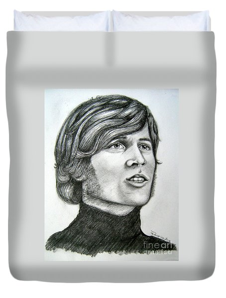 Duvet Cover featuring the drawing  A Young Barry Gibb by Patrice Torrillo