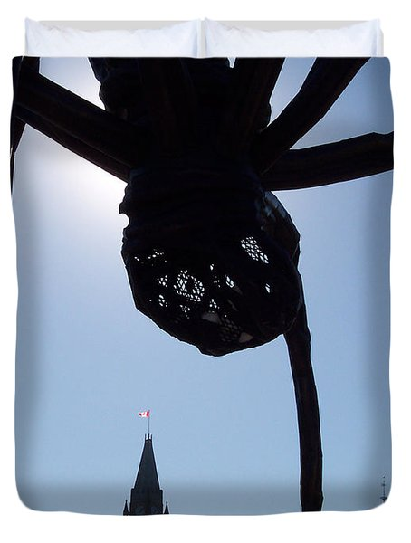 Spider Attacks Parliament Duvet Cover by First Star Art