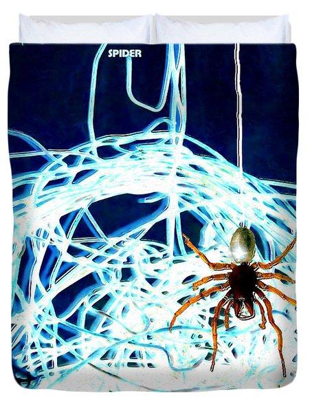 Duvet Cover featuring the digital art Spider by Daniel Janda
