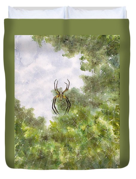 Spider In Web #2 Duvet Cover
