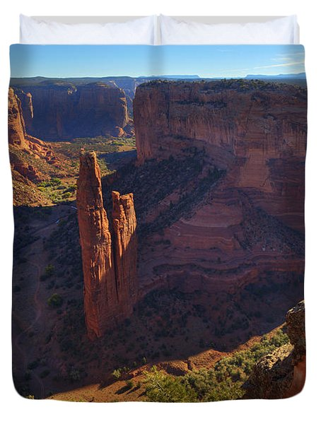 Duvet Cover featuring the photograph Spider Rock Sunrise by Alan Vance Ley