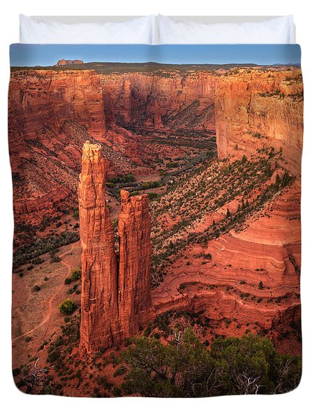 Duvet Cover featuring the photograph Spider Rock Sunset by Alan Vance Ley