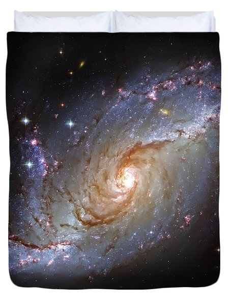 Spiral Galaxy Ngc 1672 Duvet Cover by Jennifer Rondinelli Reilly - Fine Art Photography
