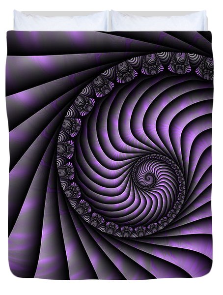 Spiral Purple And Grey Duvet Cover by Gabiw Art