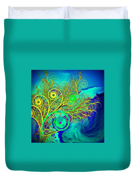 Spiral Tree With Blue Background Duvet Cover by GuoJun Pan