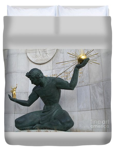 Spirit Of Detroit Duvet Cover