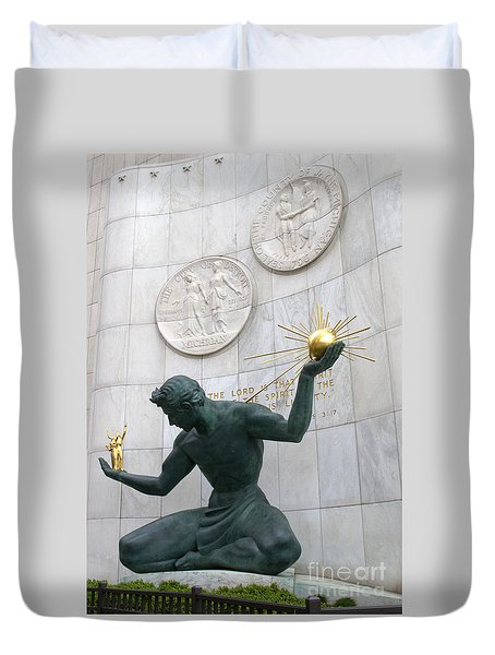 Spirit Of Detroit Monument Duvet Cover