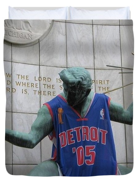 Spirit Of Detroit Piston Duvet Cover