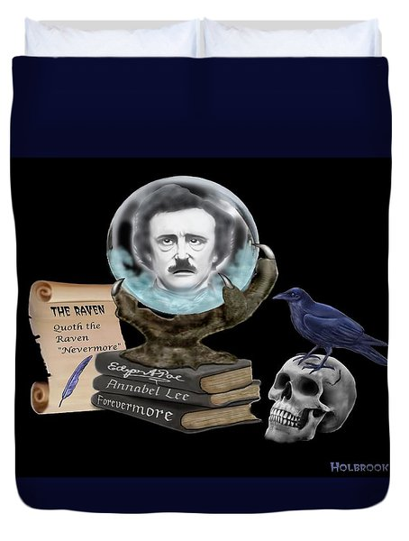 Spirit Of Edgar A. Poe Duvet Cover by Glenn Holbrook