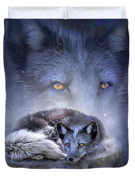 Spirit Of The Blue Fox Duvet Cover by Carol Cavalaris
