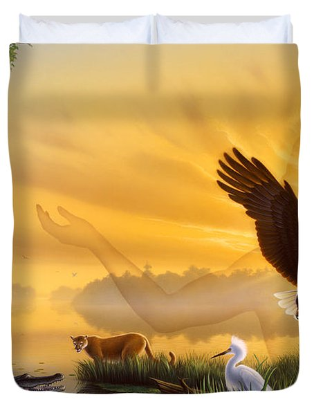 Spirit Of The Everglades Duvet Cover by Jerry LoFaro