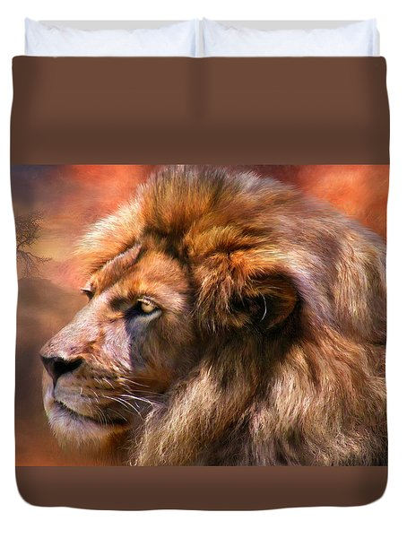 Spirit Of The Lion Duvet Cover by Carol Cavalaris