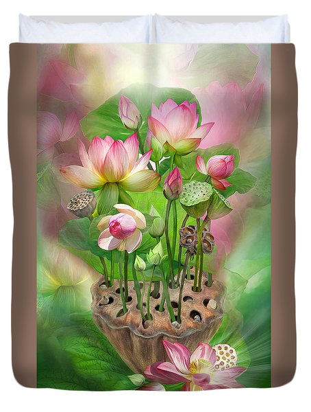 Spirit Of The Lotus Duvet Cover by Carol Cavalaris