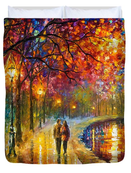 Spirits By The Lake - Palette Knife Oil Painting On Canvas By Leonid Afremov Duvet Cover