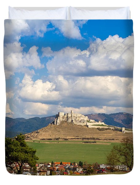 Duvet Cover featuring the photograph Spissky Hrad - Castle by Les Palenik