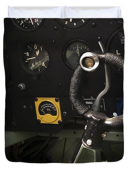 Spitfire Cockpit Duvet Cover by Adam Romanowicz