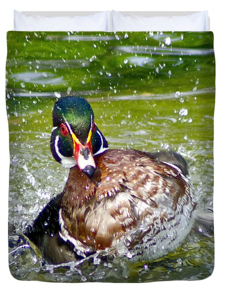 Splashdown - Wood Duck Duvet Cover