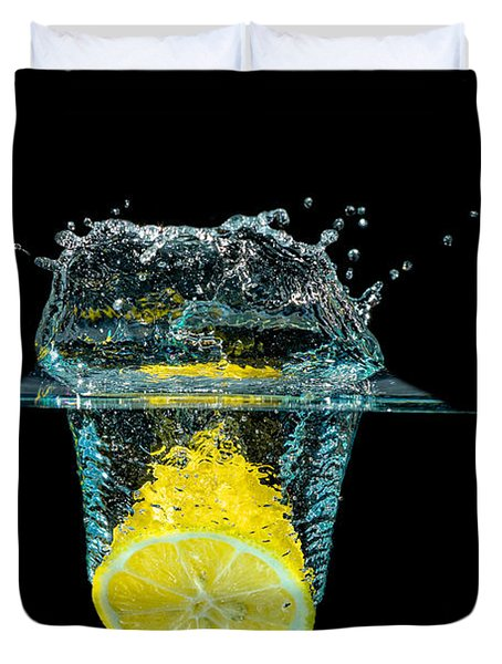 Splashing Lemon Duvet Cover by Peter Lakomy
