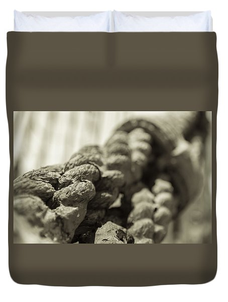 Spliced And Bound Black And White Sepia Duvet Cover