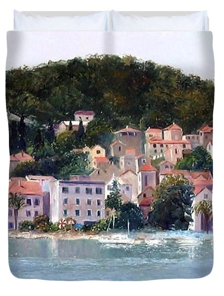 Split Harbour Croatia Duvet Cover