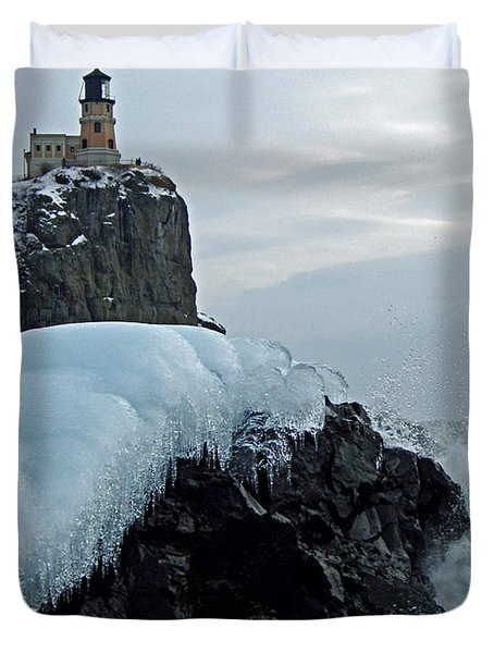 Split Rock Lighthouse Winter Duvet Cover