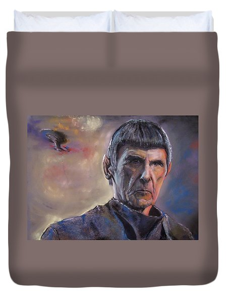 Duvet Cover featuring the mixed media Spock by Peter Suhocke