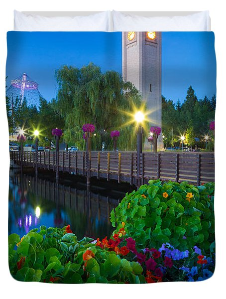 Spokane Clocktower By Night Duvet Cover by Inge Johnsson