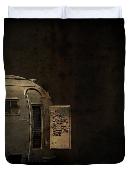 Spooky Airstream Campsite Duvet Cover by Edward Fielding