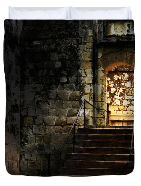 Spooky Backlit Door Way In Moon Light Duvet Cover by Oleksiy Maksymenko