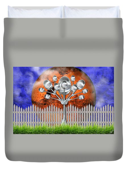 Duvet Cover featuring the mixed media Spoon Tree by Ally  White