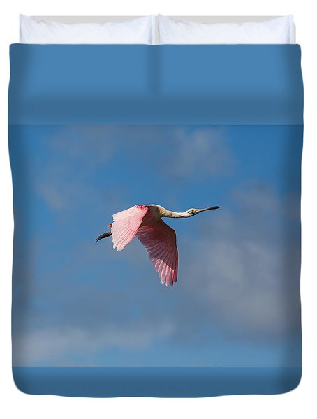Duvet Cover featuring the photograph Spoonie In Flight by John M Bailey
