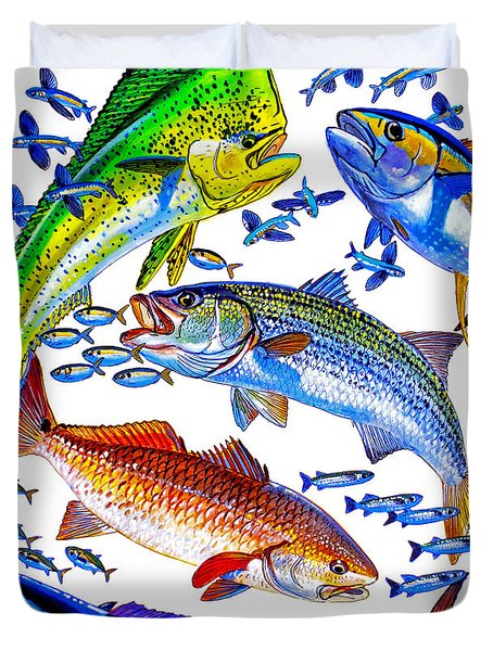 Sportfish Collage Duvet Cover by Carey Chen