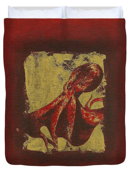 Spotted Red Octopus Duvet Cover