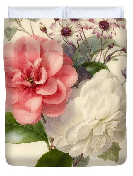 Spray Of Three Flowers Duvet Cover by Marie Anne