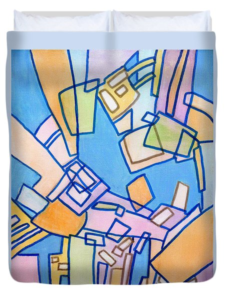 Duvet Cover featuring the painting Summer In The City by Jim Whalen