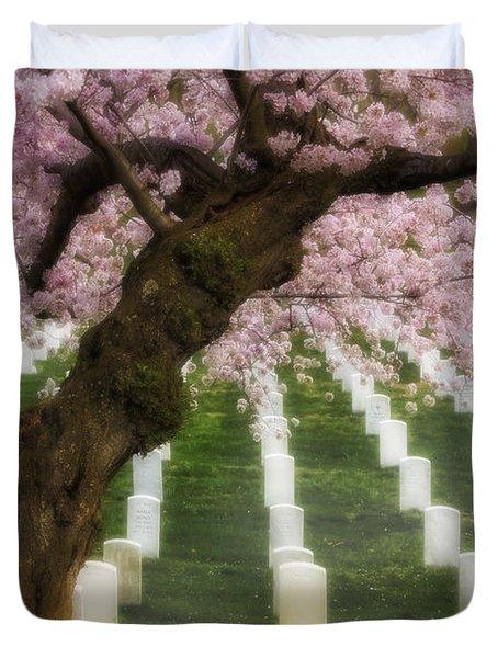 Spring Arives At Arlington National Cemetery Duvet Cover by Susan Candelario