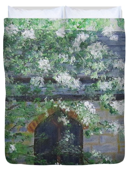 Duvet Cover featuring the painting Spring At Grace Church by Linda Feinberg