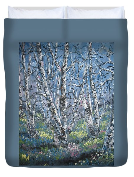 Duvet Cover featuring the painting Spring Birches by Megan Walsh