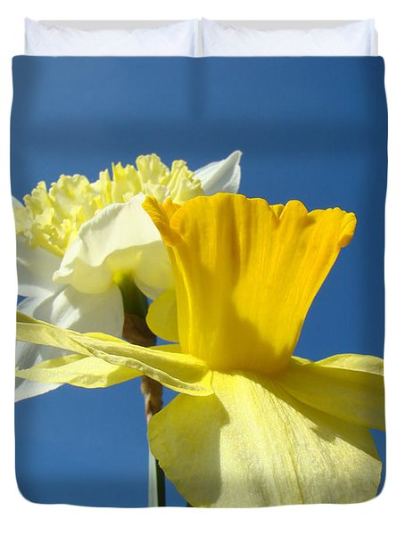 Spring Blue Sky Yellow Daffodil Flowers Art Prints Duvet Cover by Baslee Troutman