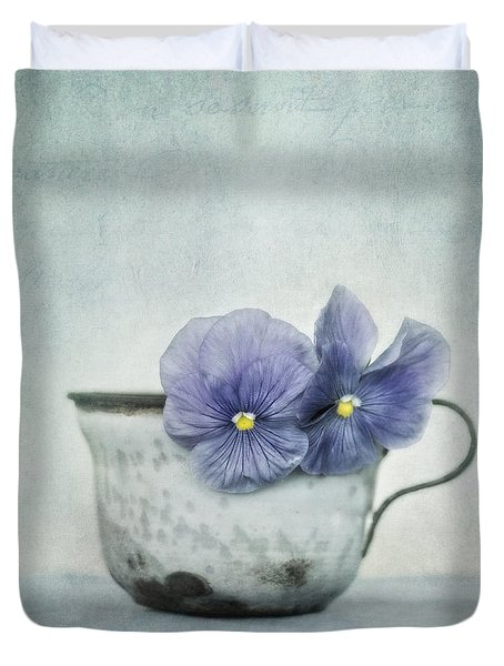 Spring Blues With A Hint Of Yellow Duvet Cover by Priska Wettstein