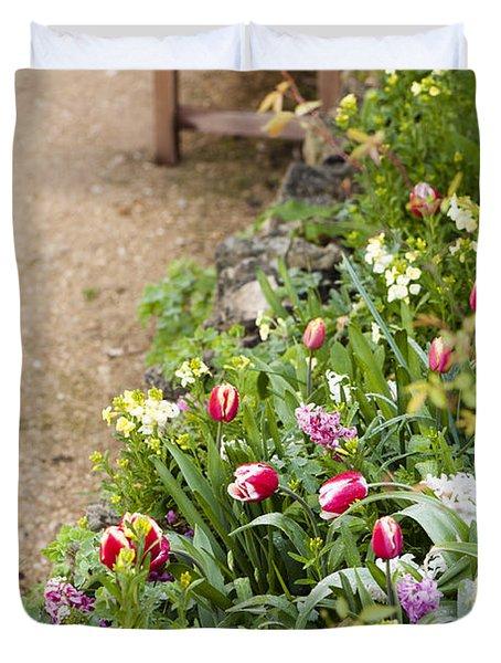 Spring Border Duvet Cover by Anne Gilbert