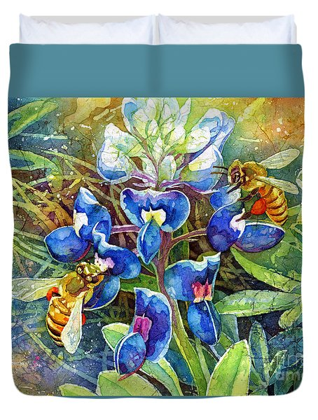 Duvet Cover featuring the painting Spring Breeze by Hailey E Herrera