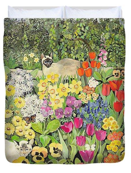 Spring Cats Duvet Cover by Hilary Jones