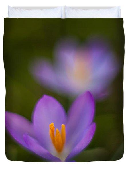 Spring Crocus Glow Duvet Cover by Mike Reid