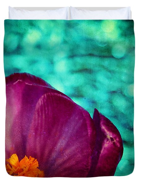 Duvet Cover featuring the photograph Spring Crocus by Peggy Collins