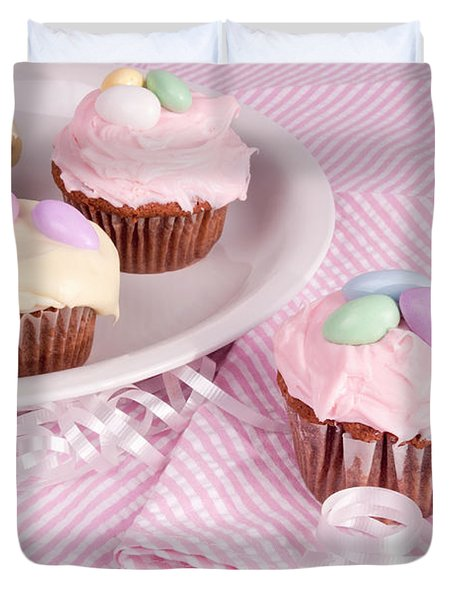 Cupcakes With A Spring Theme Duvet Cover