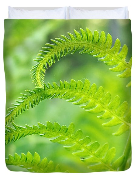 Duvet Cover featuring the photograph Spring Fern by Lars Lentz