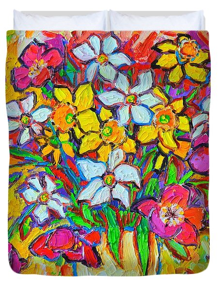 Spring Flowers Bouquet Colorful Tulips And Daffodils Duvet Cover by Ana Maria Edulescu