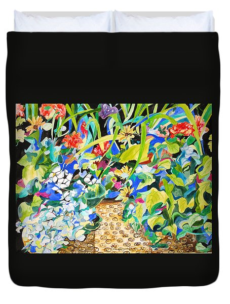 Duvet Cover featuring the painting Spring Flowers In A Brown Basket by Esther Newman-Cohen